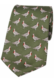 Country Silk Tie - Partridge on Forest Green