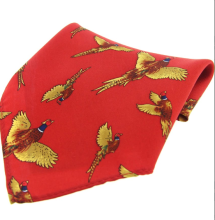 Silk Pocket Square - Red Flying Pheasant