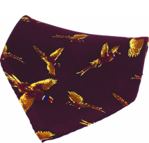Silk Pocket Square - Wine Flying Pheasant