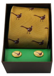 Tie & Cufflink Set - Standing Pheasant on Gold