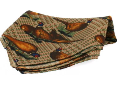 Silk Pocket Square - Standing Pheasant on Tweed