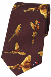 Woven Silk Tie Wine - Flying Pheasants