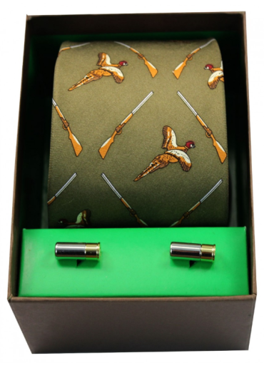 Tie & Cufflink Set - Green Flying Pheasants & Shotguns