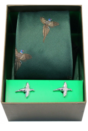 Tie & Cufflink Set - Flying Pheasants on Forest Green