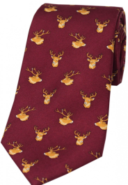 Country Silk Tie - Stags Heads on Wine