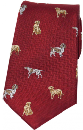 Country Silk Tie - Dogs on Red