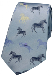 Posh & Dandy Sky Blue Multi Coloured Horses Silk Tie