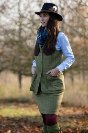 Alan Paine Combrook Ladies Tweed Long Skirt 49cm In Aspen