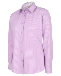 Hoggs of Fife Bonnie 11 Ladies Cotton Shirt-Lavender Stripe