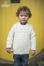 Children Traditional Crew Neck Aran Sweater