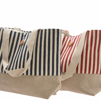 Striped canvas shopping bag - red