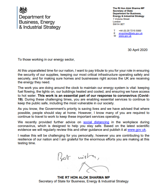 The letter thanks all those who are working tirelessly within the energy industry during the coronavirus (COVID-19) pandemic.