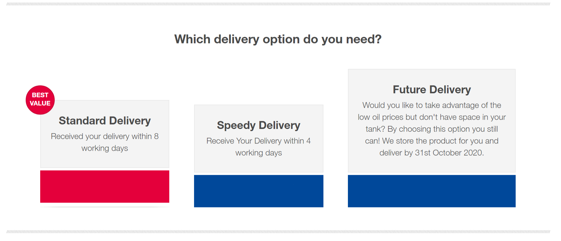 Delivery options including new future delivery