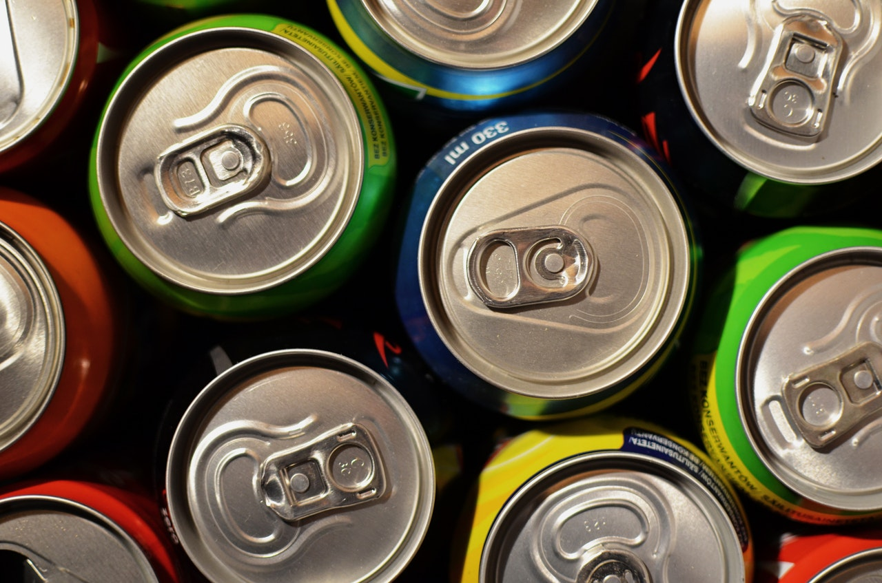 Carbonated Drink Cans viewed from above