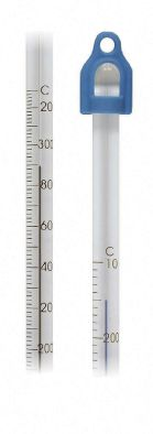Thermometer Lo Tox 405mm-10/260C x 1.0div 76mm imm. Blue fill