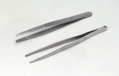 Forceps, stainless steel Blunt Tip, 125mm Long (Pk 10)