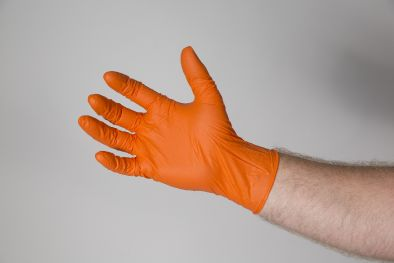 Gloves, Nitrile Orange Powder Free Micro Textured L