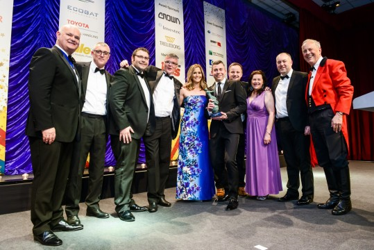 Flogas team and Gyles Brandreth