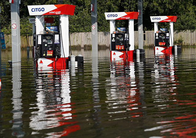 Flooded Petrol station as a result of Tropical Storm Harvey