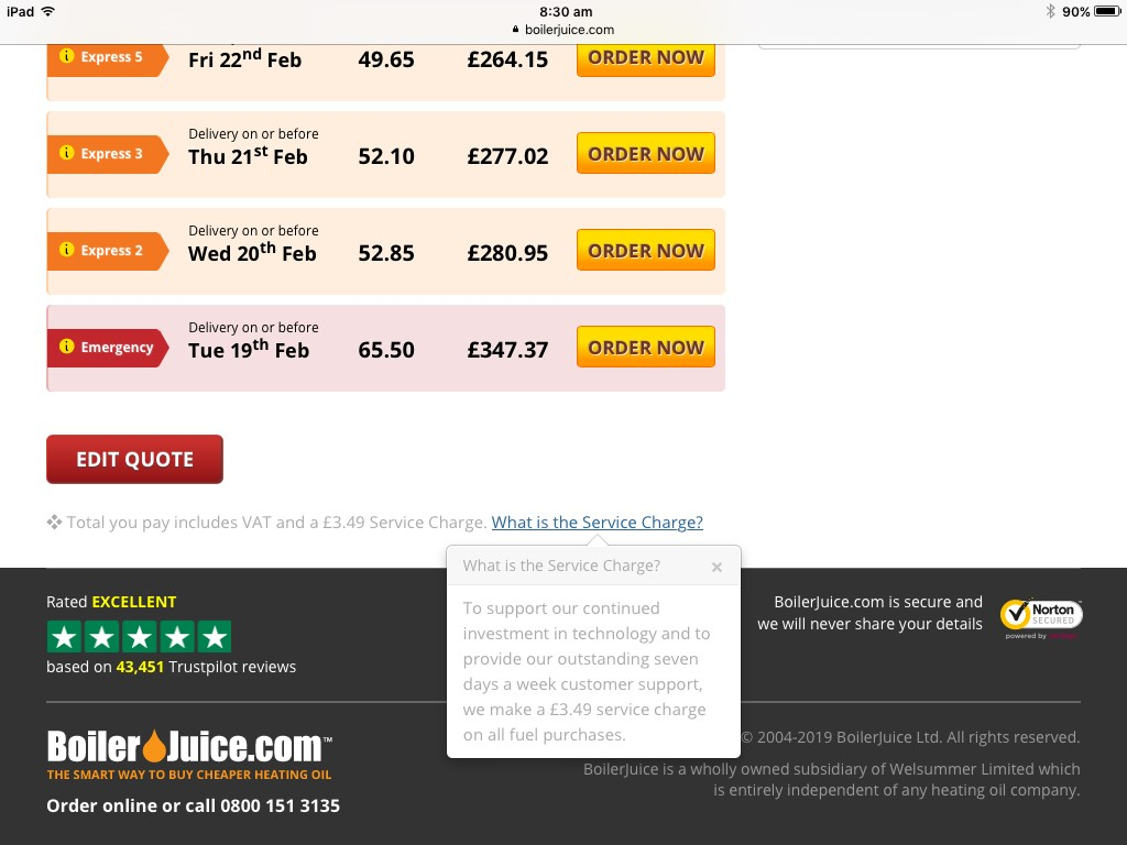 BoilerJuice Service Charge