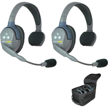 Eartec UltraLITE 2 person system with 2 Single Headsets, batteries, charger & case