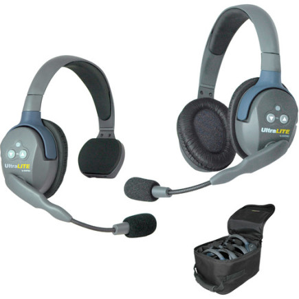 Eartec UltraLITE 2 person system with 1 Single 1 Double Headset, charger, batteries & case
