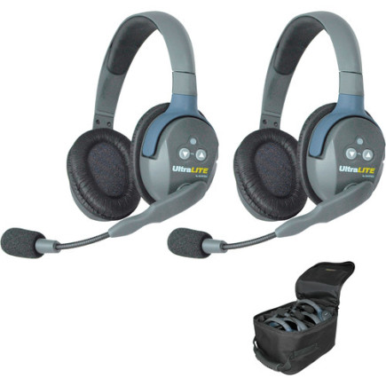 Eartec UltraLITE 2 person system with 2 Double Headsets, batteries, charger & case