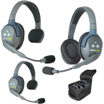 Eartec UltraLITE 3 person system with 2 Single & 1 Double Headset, batteries & case