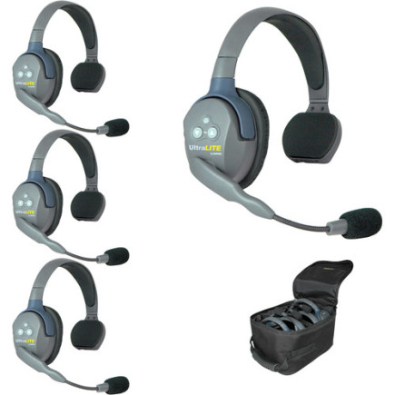 Eartec UltraLITE 4 person system with 4 Single Headsets, batteries & case