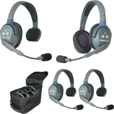 Eartec UltraLITE 4 person system with 3 Single 1 Double Headset, batteries & case