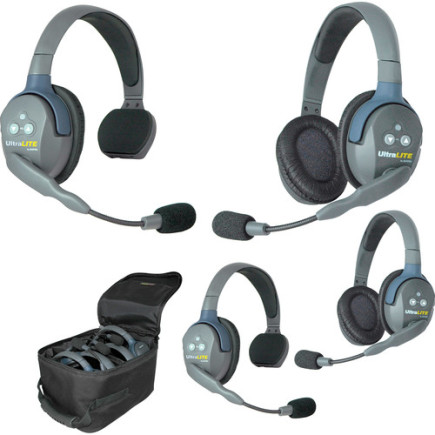 Eartec UltraLITE 4 person system with 2 Single 2 Double Headset, batteries & case