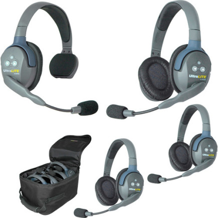 Eartec UltraLITE 4 person system with 1 Single 3 Double Headset, batteries & case