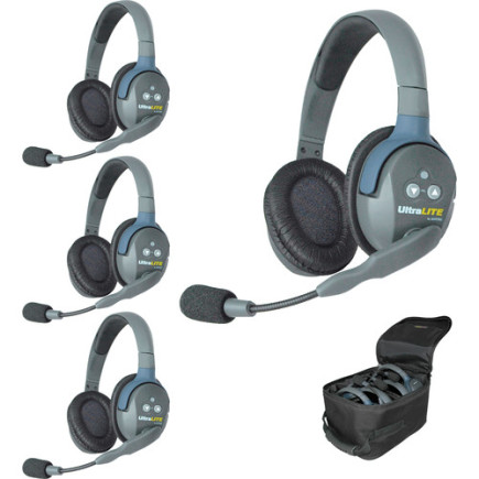 Eartec UltraLITE 4 person system with 4 Double Headsets, batteries & case