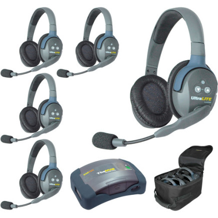 Eartec UltraLITE HUB 5 person system with 5 Double Headsets, batteries & case