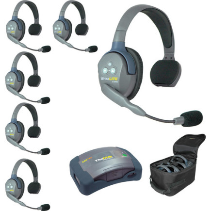 Eartec UltraLITE HUB 6 person system with 6 Single Headsets, batteries & case