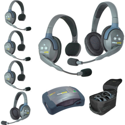 Eartec UltraLITE HUB 6 person system with 4 Single 2 Double Headset, batteries & case