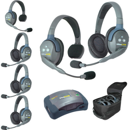 Eartec UltraLITE HUB 6 person system with 2 Single 4 Double Headset, batteries & case