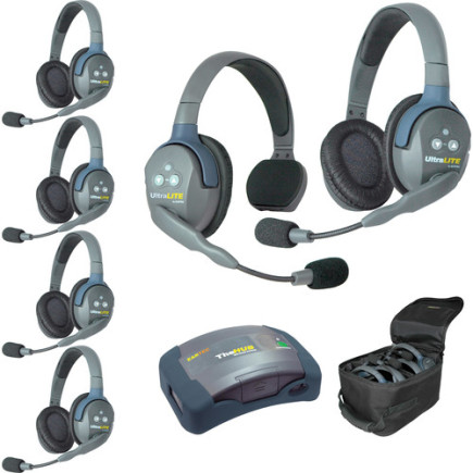 Eartec UltraLITE HUB 6 person system with 1 Single 5 Double Headset, batteries & case