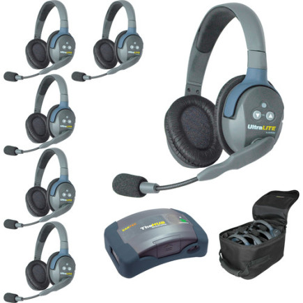 Eartec UltraLITE HUB 6 person system with 6 Double Headsets, batteries & case