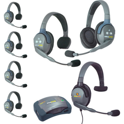 Eartec UltraLITE HUB 7 person system with 5 S 1D Headset, 1 Max 4G S Headset, batteries & case