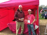 Peter Bone MP for Wellingborough & Rushden wearing a jhai pink hard hat