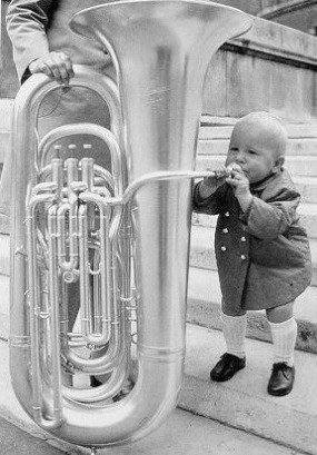 Little child tuba