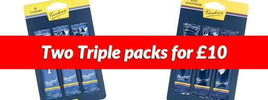 Two triple packs of Vandoren reeds for just £10