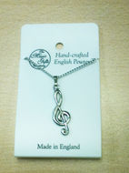 Treble Clef Pewter Pendant