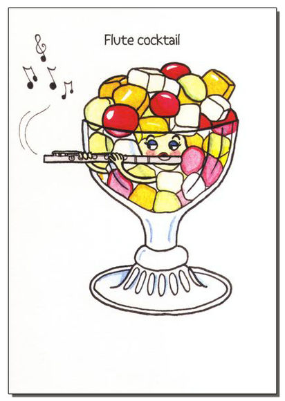 """Flute Cocktail"" Greetings Card"