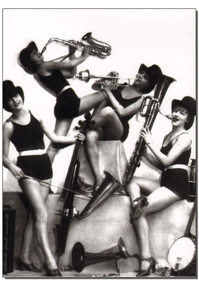 """All Girl Jazz Band Cooking Up A Storm"" Greetings Card"
