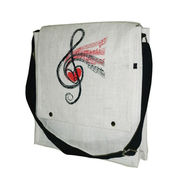 Jute Cross Body Zip Pocket Bag Treble Clef Design
