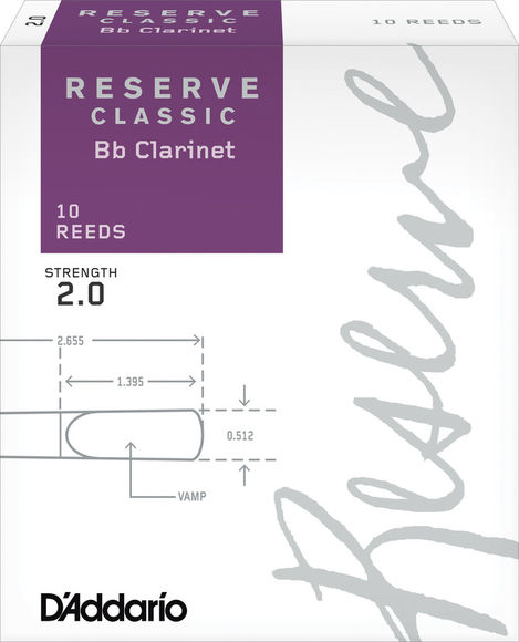 D'Addario Reserve Classic Bb Clarinet Reeds (Box of 10)