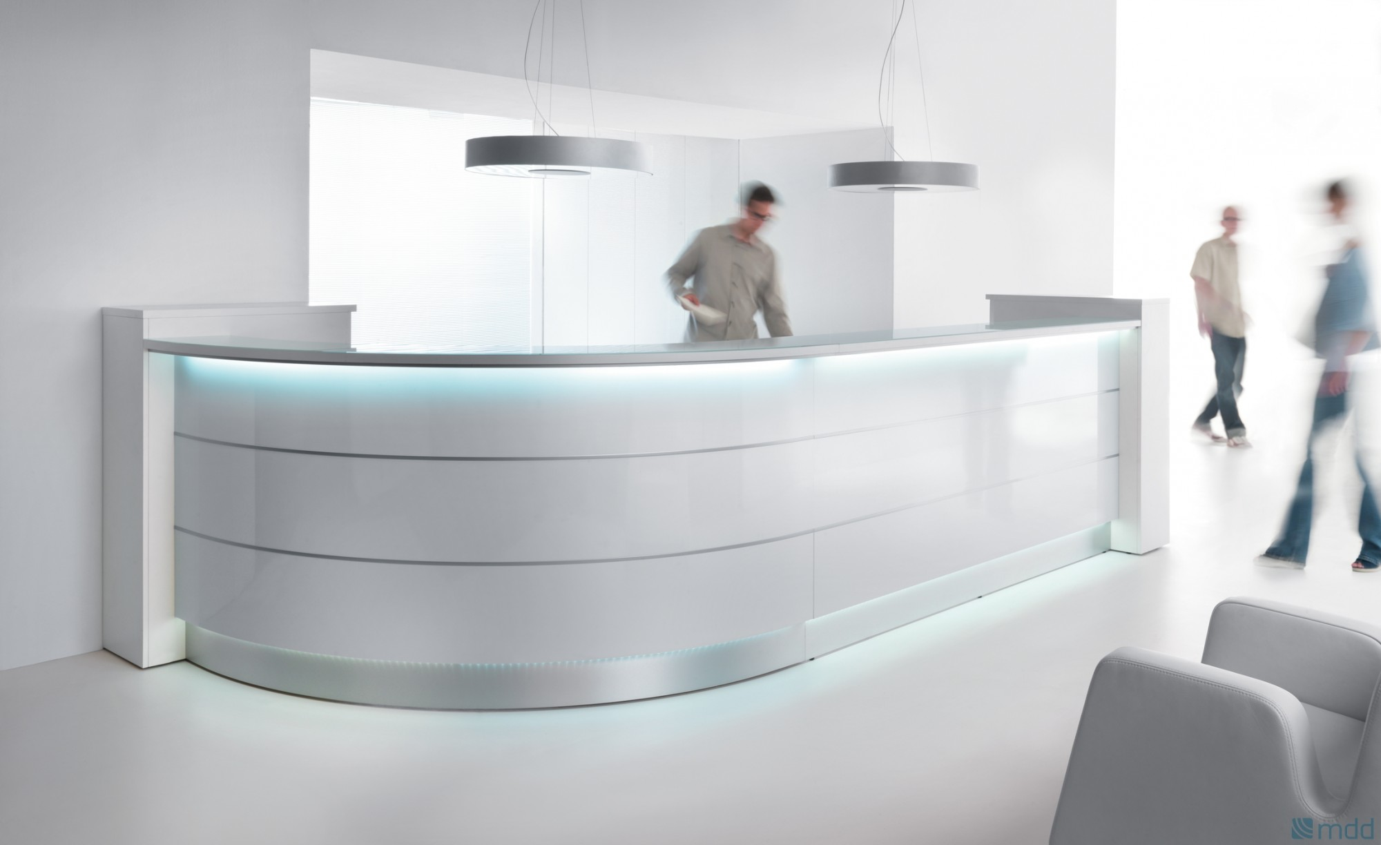 Curved Reception Desk With Illumination Valde 3212mm