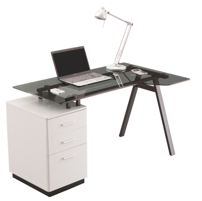 Cantella 2 Smoke Grey Glass Desk